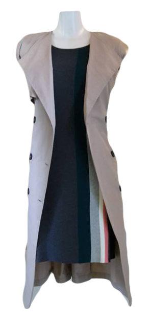 SALE_Nice Things-Kleid-Half Milano Striped_Minimum-Trenchcoat-aja_Skunkfunk-Tasche-Caseres