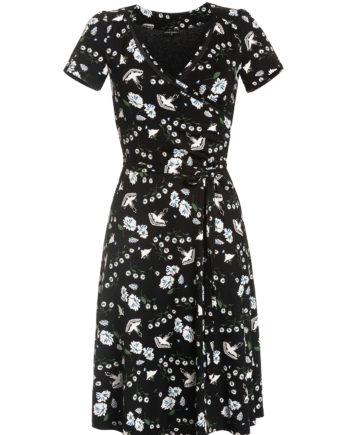 Schwarzes Kleid aus Viskose mit floralem Muster in Wickeloptik und A-Linie mit Bindegürtel von VIVE MARIA (PARADISE). / pussyGALORE / Leipzig