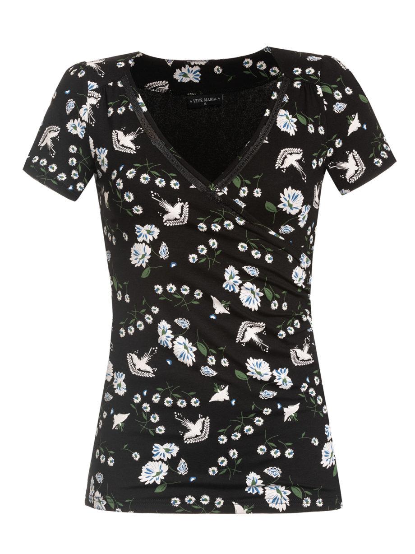 Schwarzes figurbetontes Shirt aus Viskose mit floralem Muster von VIVE MARIA (PARADISE SUMMER) in Wickeloptik mit Bordüre aus transparenter Spitze. / pussyGALORE / Leipzig