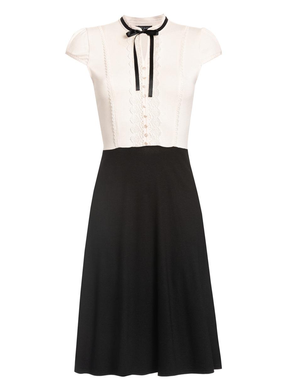 Schwarz-weißes Kleid von VIVE MARIA (PARIS AFTERNOON) mit einer Schleife aus Samt am Kragen. / pussyGALORE / Leipzig