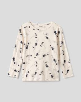 Shirt von NICE THINGS (FOAM PRINTED) mit Rundhals-Ausschnitt in Dreiviertel-Armlänge aus Baumwoll-Mischgewebe in Ecru mit dunkelblauem Print aus Schwimmerinnen. / Bauhaus / pussyGALORE / Leipzig