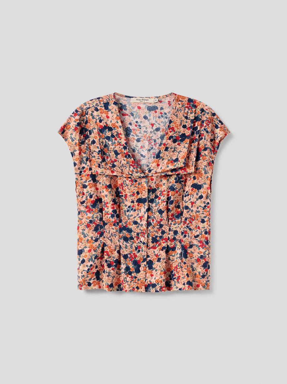 Bluse aus Viskose mit floralem Muster von NICE THINGS (MILLEFIORI PRINT) mit doppeltem Reverskragen, Knopfleiste und kurzen Ärmeln. / Bauhaus / Vorderansicht 2 / pussyGALORE / Leipzig