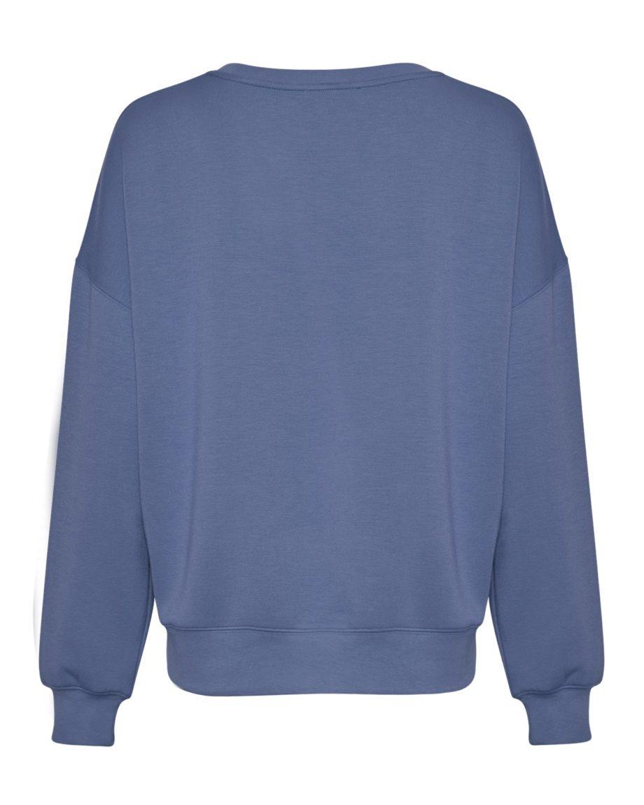 Gerade geschnittenes Sweatshirt von MSCH (IMA) mit Rundhals-Ausschnitt, gerippten Bündchen und überschnittenen Ärmeln aus weicher Viskose-Mischung. / Gray Blue / Rückenansicht / pussyGALORE / Leipzig