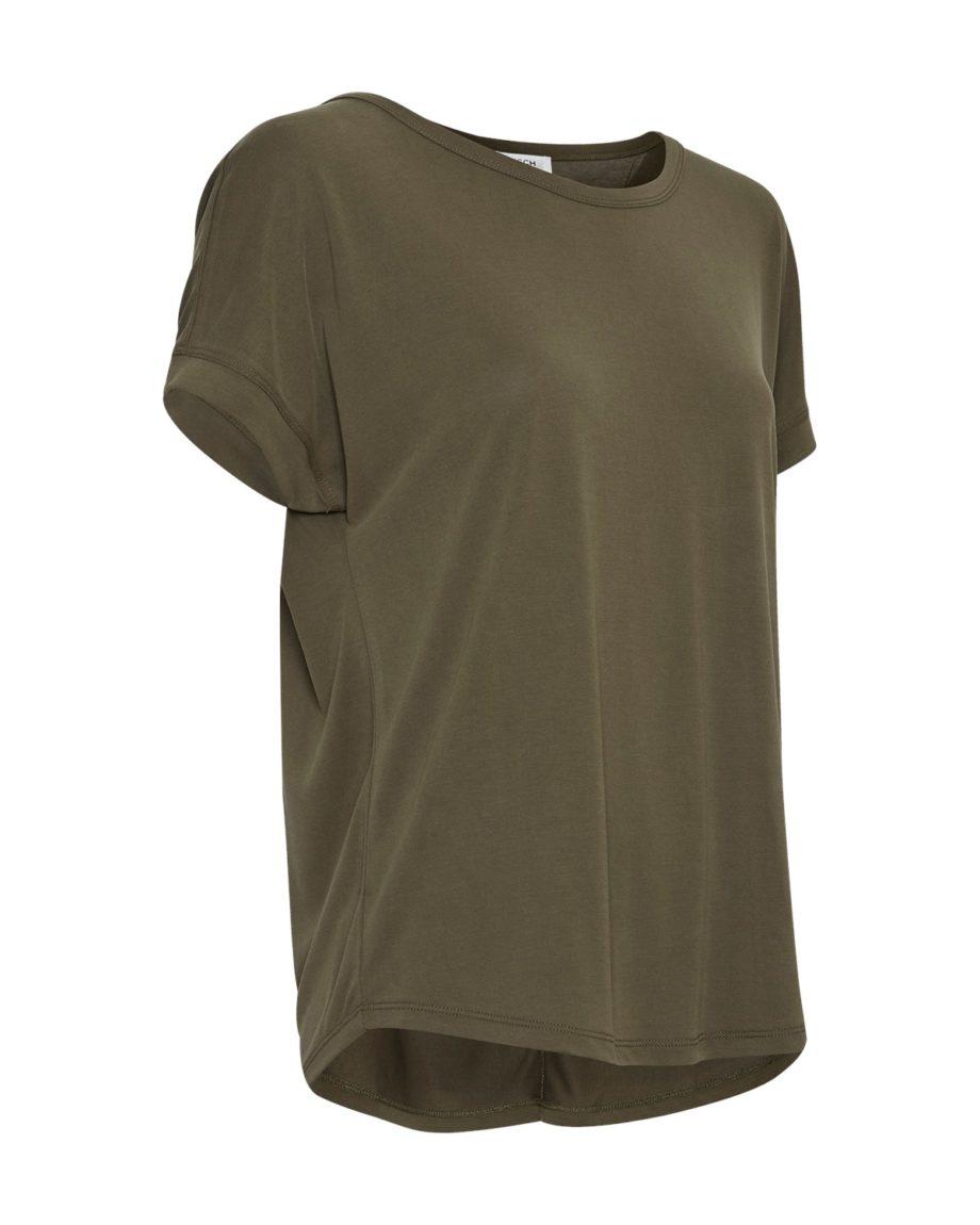 Locker geschnittenes T-Shirt aus Modal von MSCH FENYA MODAL TEE mit abgestepptem Saum und Ziernaht am Rücken pussyGALORE Leipzig gerat leaf