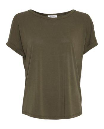 Locker geschnittenes T-Shirt aus Modal von MSCH (FENYA MODAL TEE) mit abgestepptem Saum und Ziernaht am Rücken. Grape Leave / Vorderansicht / pussyGALORE / Leipzig