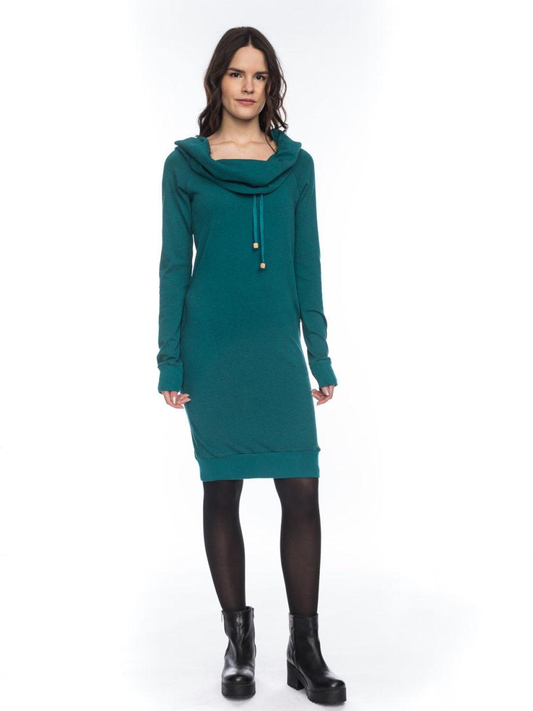 ATO BERLIN SUNA KLEID meliertes Baumwoll-Kleid mit Kapuze