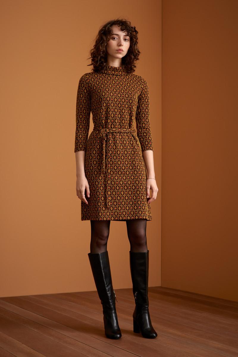 KING LOUIE DITA HONEYCOMB Kleid mit Jacquard-Muster und Lurex