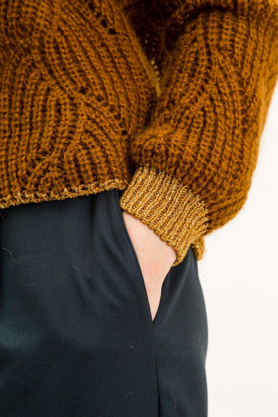 UVR CONNECTED TIGERINA Pullover mit interessantem Strickmuster, golden glitzernden Bündchen und Mohairanteil